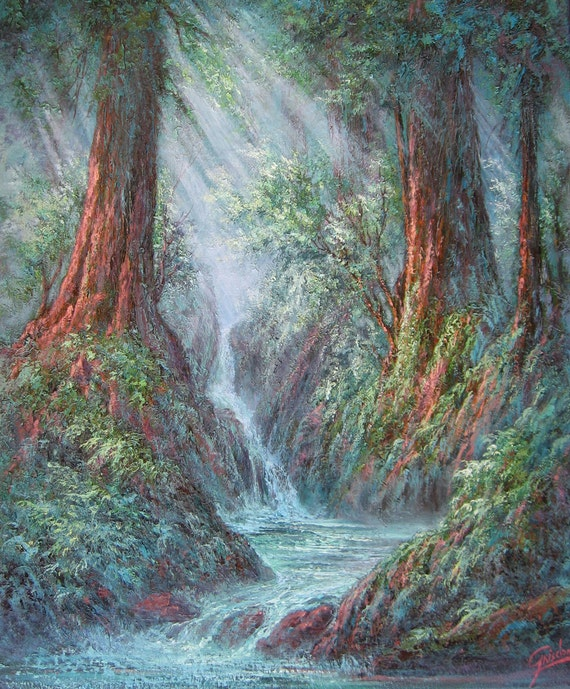 Redwood Gulch   Original Fine Art  Oil Painting by Griselda Tello Redwood Tree Painting