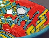 Turquoise Kitty Bowl