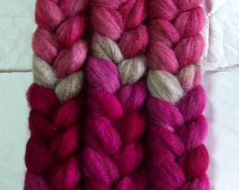 BFL hand painted wool roving, spinning fiber, felting wool, british wool, embellishing fiber, pink, oatmeal, magenta, purple, 3.5oz/100g