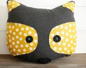 Raccoon Pillow - mustard dots