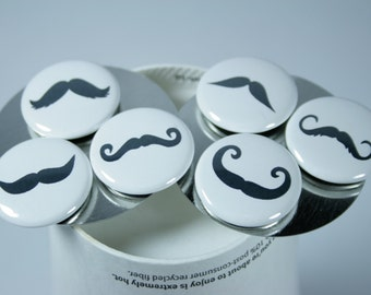 Mustache Magnets, set of 6 - 1 inch magnets, bachelorette favor, bridesmaid gift