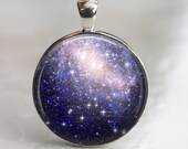 Lost in Space -  Glass Pendant in a Shiny Silver Bezel Setting - 30mm Round