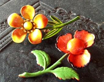 1960s Vintage ENAMEL FLOWER BROOCHES Vibrant Set