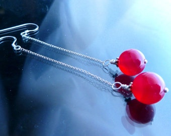 3 inches Long Chain n Strawberry Quartz in sterling silver shoulder duster earrings fuchsia pink orbs