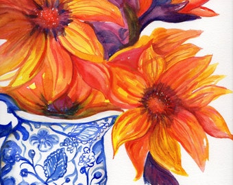 Original sunflowers watercolor painting, sunflowers in blue and white vase painting, floral wall art, Orange, Red bold sunflowers