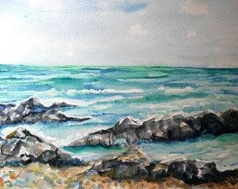 Aruba Seascape watercolors paintings original, Ocean art original watercolor painting, beach artwork, sea off Aruba painting, watercolors