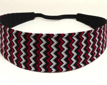 Headband Reversible Fabric  -  Red, White & Black Chevron -  Headbands for Women - RED BLACK CHEVRON