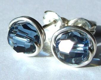 Denim Blue Studs 8mm Blue Swarovski Crystal Post Earrings Wire Wrapped in Sterling Silver Stud Earrings Denim Studs
