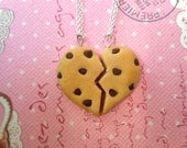 Best Friend Chocolate Chip Cookie Necklaces, Best Friend Necklaces, Miniature Food Jewelry, Polymer Clay Food Necklaces