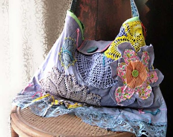 Faded Blue Flower Bag, Hand Dyed, Linen, Denim, Large, Hobo, Vintage Lace, Embroidered, Boho