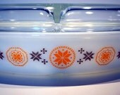 Vintage Pyrex Town and Country Divided Casserole with Lid 60s Sixties 1960s Kitchen Ovenware Corningware Baking Dish