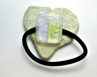 Fused Glass Dichroic Ponytail Holder 176