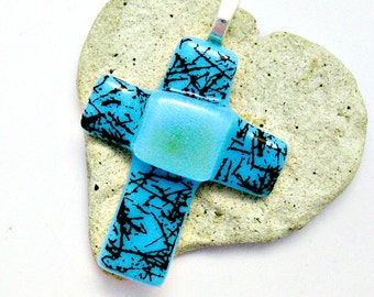Blue with Black Squiggles with Dichroic Center of Cross Fused  Glass Pendant