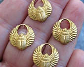 Brass EGYPTIAN WINGED SCARAB Charms Findings Set of Four