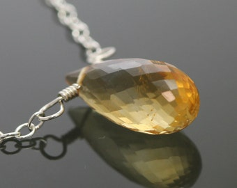 Golden Citrine Necklace. Sterling Silver. Genuine Citrine. November Birthstone. Faceted Tear Drop. Gemstone. f13n023
