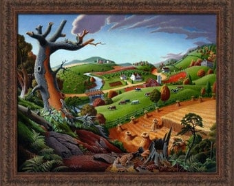 Fall Decor, Folk Art Farm Landscape, American, Americana, Autumn Wheat Field Harvest, Framed Canvas Print, Thanksgiving Scene, Pennsylvania