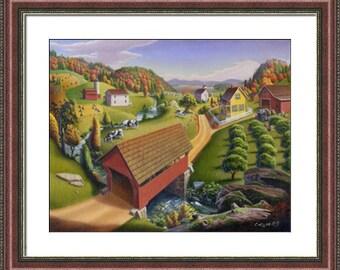 Farm Art, Rustic Home Decor, Red Covered Bridge, Appalachia farm Folkart framed matted print, Appalachian Folk art Landscape farmhouse decor