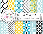 Quatrefoil Digital Papers lattice work for photo cards, stationary AMARA Instant Download light blue, black, white