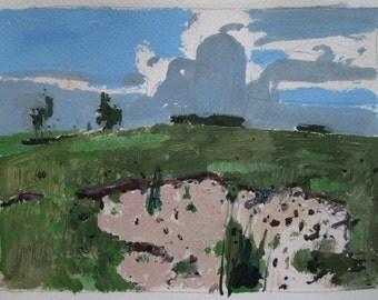 Sand Slip, Original Landscape Painting on Paper, Stooshinoff