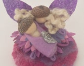Tiny Fairy Family - Mama, Baby Acorn Fairy and Nest - Pink and Purple  Waldorf Inspired Natural Fairy Toy Set