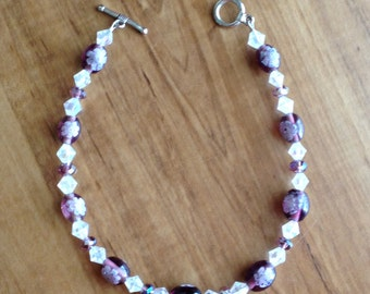 Purple Glass and Crystal Ankle Bracelet