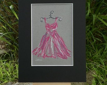 Pink Ballerina Dress Pastel Illustration Sketch Fashion Drawing Art Original Painting by Artist Debra Alouise