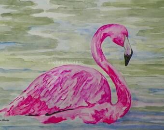 Flamingo Watercolor Art Original Painting Bird Sketch Illustration by Artist Debra Alouise