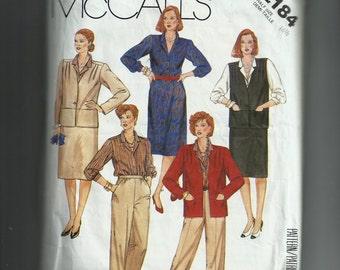 Vintage McCall's Half Size Jacket or Vest, Blouse, Skirt, and Pants Pattern 2184