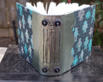 ROBOT JOURNAL Blank Book Paper Covered and Metallic Blue Leather Exposed Spine with Buttons
