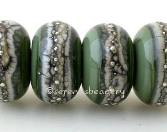 Lampwork Glass Bead Set OLIVE GREEN Silvered Granite Handmade -  - glossy or matte