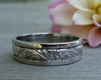 Recycled 950 Palladium Scroll Patterned Wedding Band, Mens Ring, 6mm Wide, Made To Order