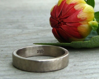 Recycled 18k Palladium White Gold Wedding Band, 4mm Wide, Hammered/Matte, Eco-Friendly, Made to Order