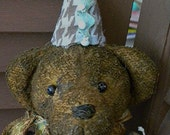 Old Recycled Upcycled Worn Torn Mended Vintage Antique Party Circus Brown Bear Heart Blue Rhinestone Lost Teddy Bear by Mustard Seed HAFAIR