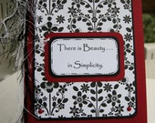Handmade Note Card, Retro Floral, Black, White, Red, There is Beauty in Simplicity