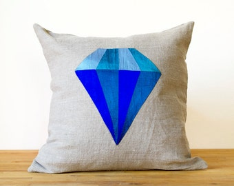 Sapphire Diamond Silk and Linen Colorful Pillow - 14 inches HUGE SALE Last One!