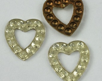15mm Silver Lined Crystal Open Heart #XS9-D