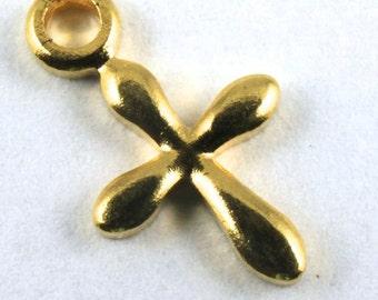 11mm Gold Plated Cross (8 Pcs) #152
