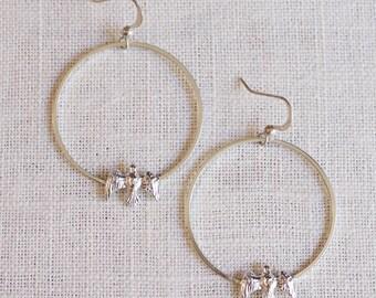 SALE . bird hoop earrings . flying bird earrings . bird on a wire earrings . sparrow hoop earrings . bird jewelry . woodland jewelry //2SUNR
