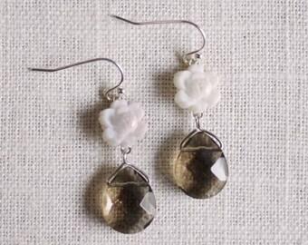 CLEARANCE . laylani . smoke // white flower earrings . silver flower earrings . grey flower drop earrings