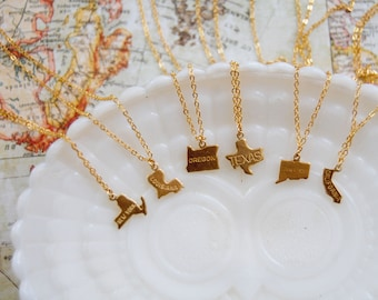 state pride vintage tiny brass charm necklace- gold plated chain- home