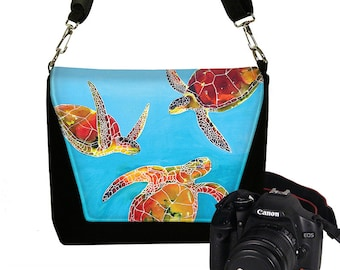 Clara Nilles  Dslr Camera Bag Purse Cute Turtle Camera Messenger Bag Padded  Tie Dye Sea Turtles blue red orange green RTS