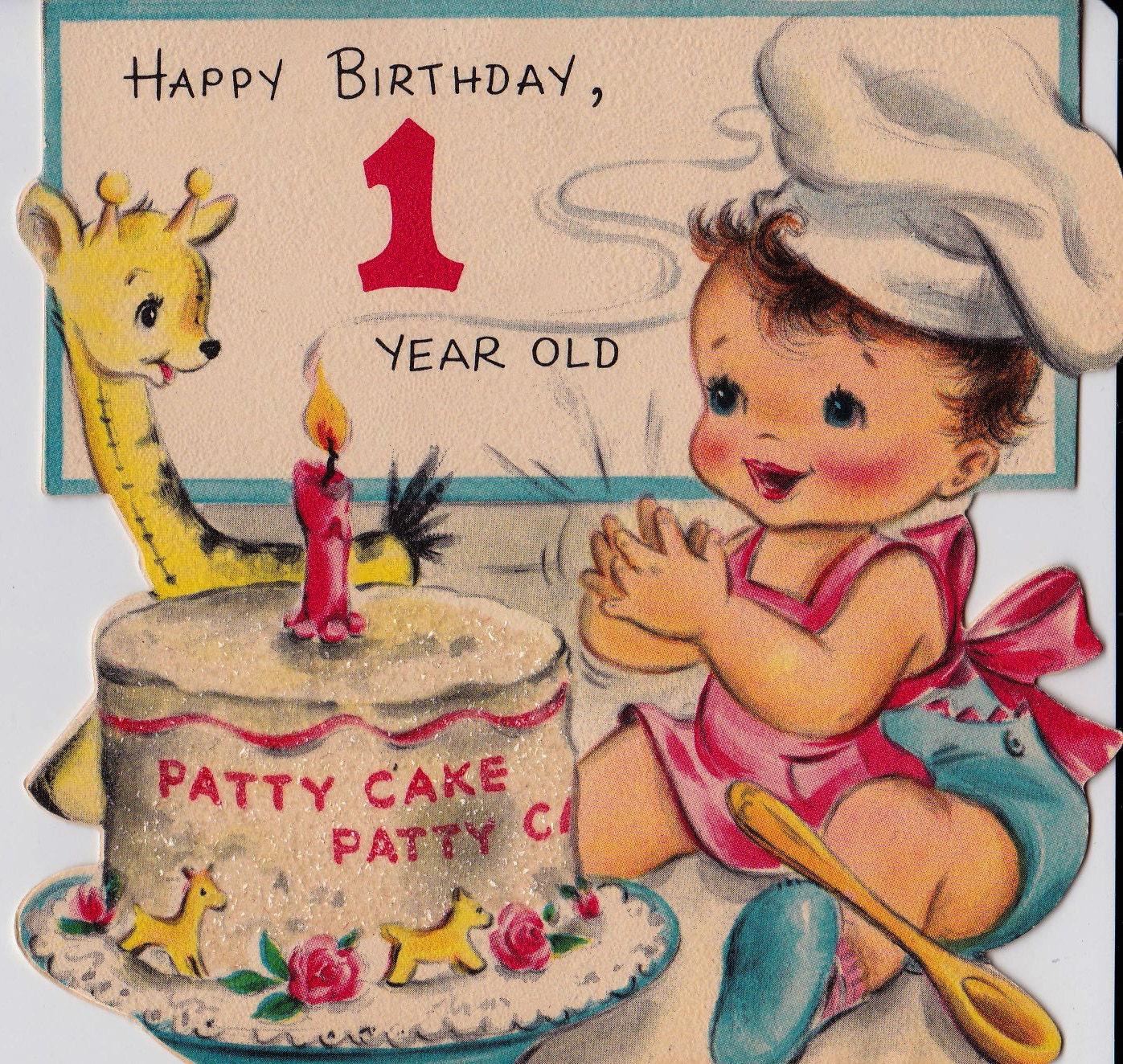 Vintage Hallmark 1950 Happy Birthday 1 Year Old Greetings Card