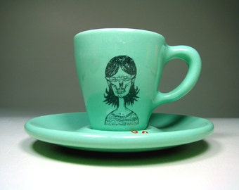 zombie number f. espresso cup w/saucer - Made to Order / Pick Your Colour