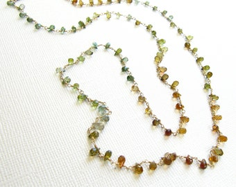 Green Golden Tourmaline Wire Wrapped Long Necklace