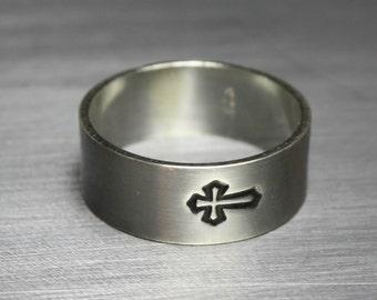 Sterling Silver Cross Ring Spiritual Jewelry