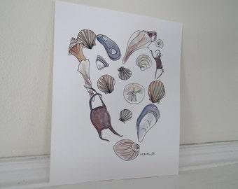Seashell Heart Print, Beach Art Print, Natural History Print, Beach Cottage Decor, Office Decor, Home Decor, Archival 8 x 10