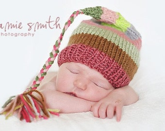 NeWBoRN Baby GiRL Hat Knit BaBY PhoTO PRoP Tassel Stocking Cap PiXiE BeANiE Pink Green Grey Brown stripe FCN CaP Coming Home INFaNT ToQUE