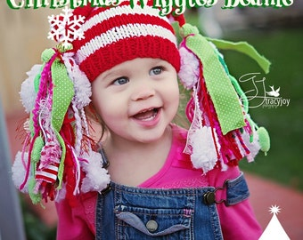 Toddler Girl Knit HaT PHoTO PRoP Teen Hat LoNG HuGE Tassels Hat WIGGLeS BeaNiE Red White Stripe Cap CHooSE CoLOR KiDS HaT Christmas Card Pic