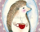 "Hedgehog art print, ""Monsieur Hedgehog"""