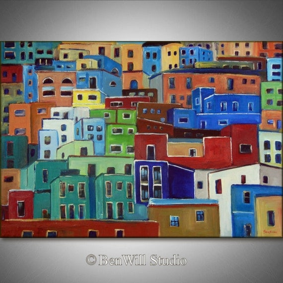 LARGE COLORFUL Painting Original Modern Wall Art - Large Oil Painting on Canvas - HOUSES 40x28 by BenWill
